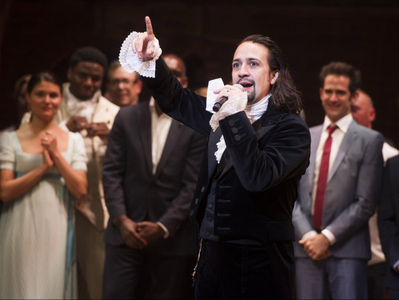 "Lin-Manuel Miranda at the curtain call of ""Hamilton"" on opening night in August. CHARLES SYKES / INVISION / AP"